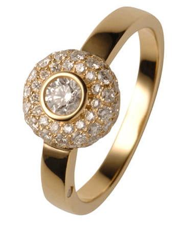 Bague or jaune diamants Gay frères
