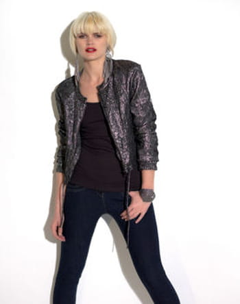 Veste noire brillante de New Look